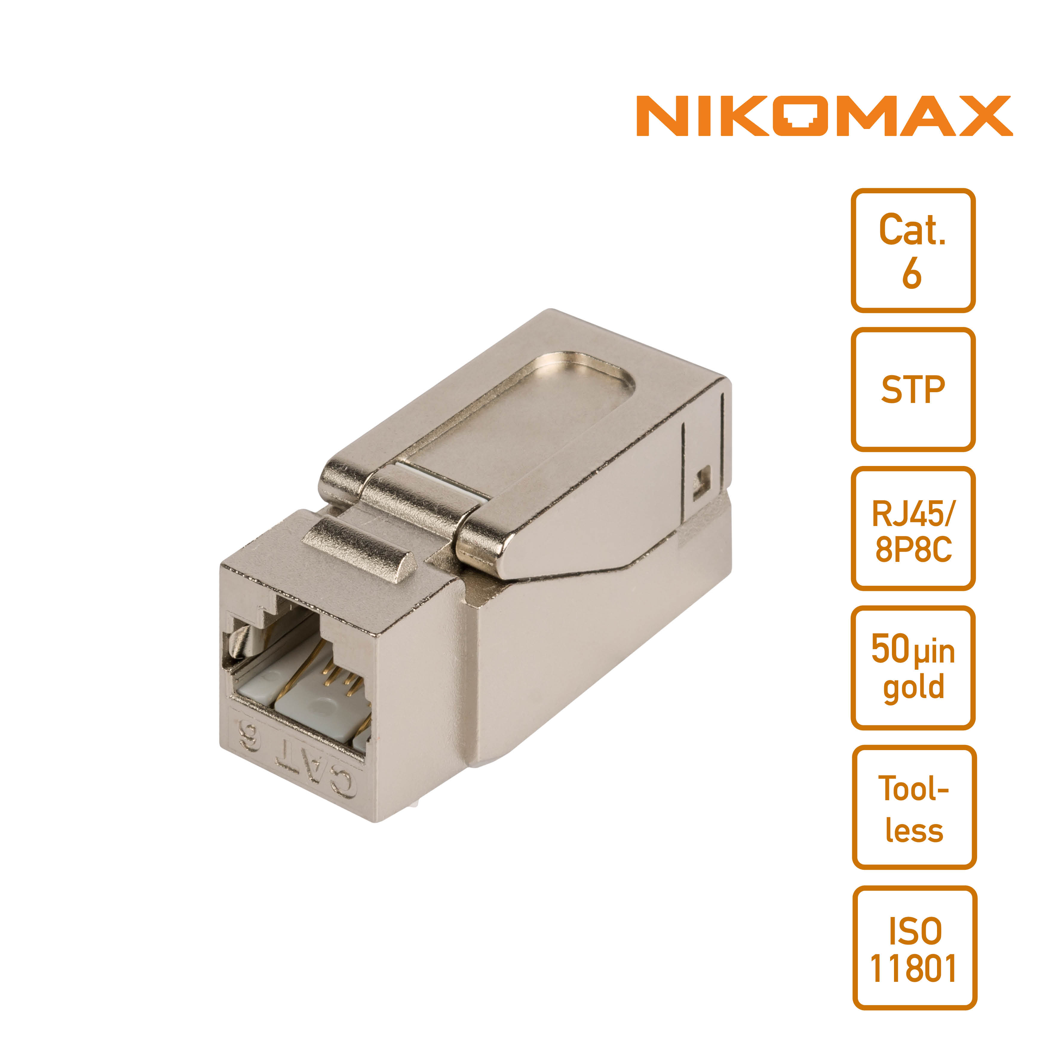 NIKOMAX keystone jack module, tool-less, shielded, cat. 6